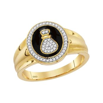 10kt Yellow Gold Mens Round Diamond Money Bag Bank Fashion Ring 1/6 Cttw