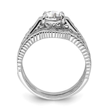 Sterling Silver Rhodium-plated 2-Piece CZ Size 6 Wedding Set Ring