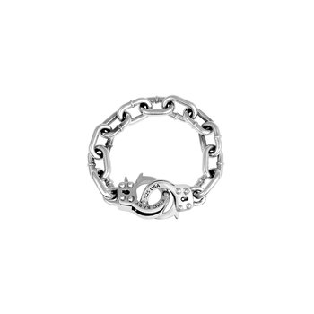 Large Handcuff Clasp Silver Bracelet