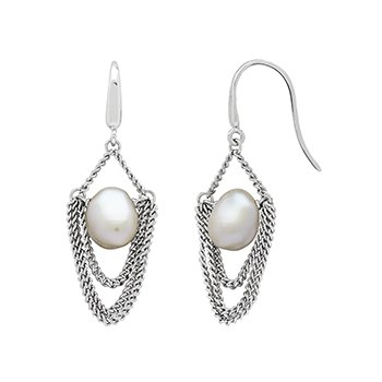 Honora Sterling Silver 8-9mm White Baroque Freshwater Cultured Peal Drap Chain Earrings