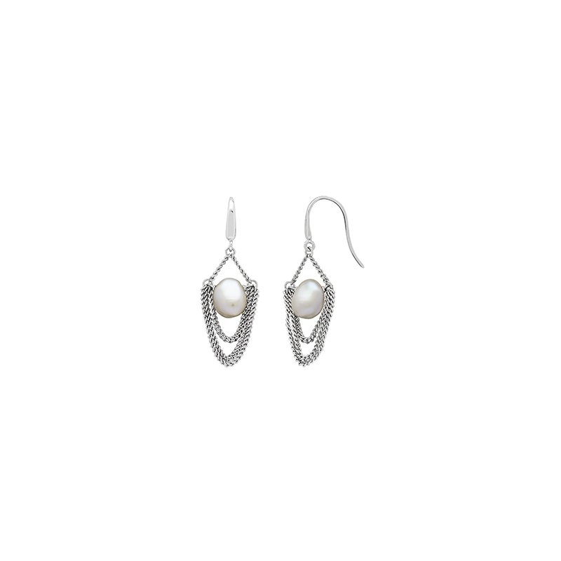 Honora Honora Sterling Silver 8-9mm White Baroque Freshwater Cultured Peal Drap Chain Earrings