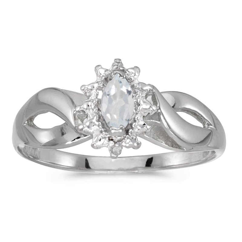 Color Merchants 10k White Gold Marquise White Topaz And Diamond Ring