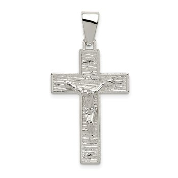 Sterling Silver Polished Box Cross Crucifix Pendant