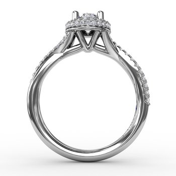 Oval Waterfall Halo Engagement Ring With Twisted Shank