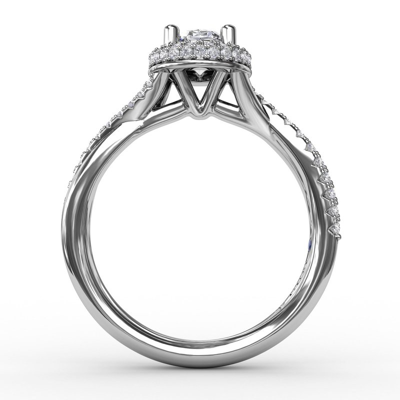 Fana Oval Waterfall Halo Engagement Ring With Twisted Shank