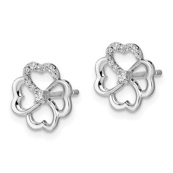14k White Gold Diamond Fancy Clover Earrings