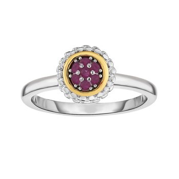 Sterling Silver & 18K Gold Popcorn Birthstone Ring