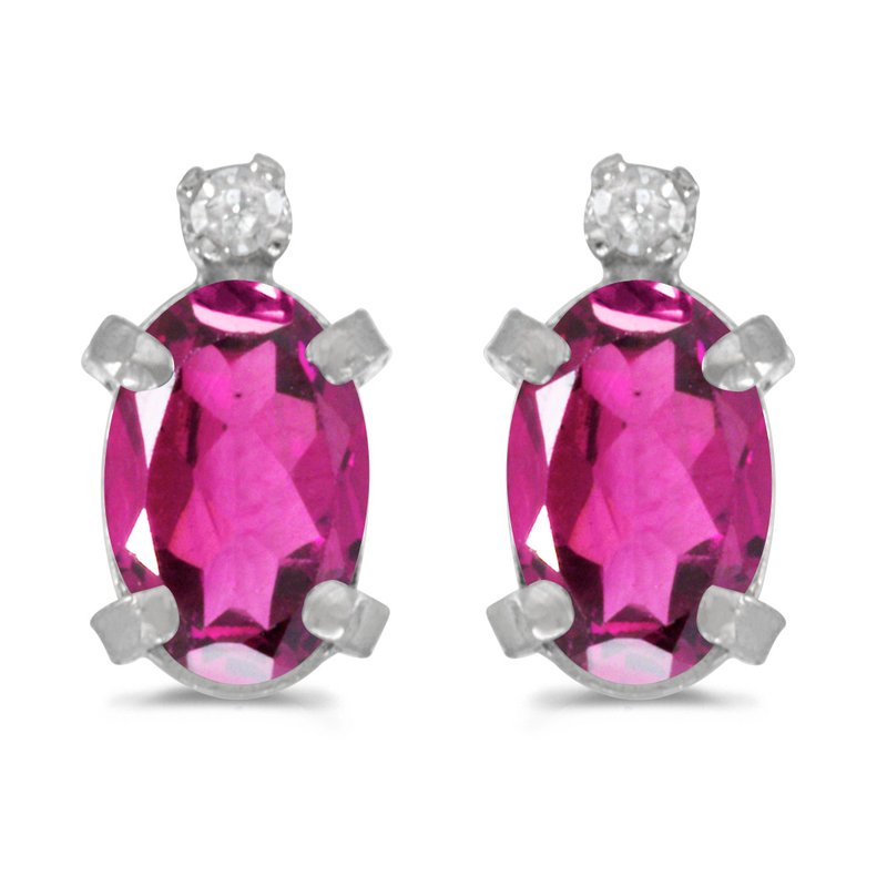 Color Merchants Sterling Silver Oval Pink Topaz and Diamond Earrings