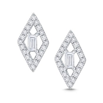 Diamond Kite Shaped Mosaic Studs Set in 14 Kt. Gold