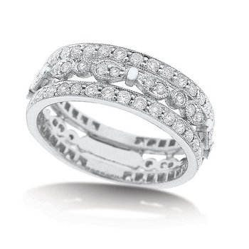 Diamond Ring in 14k White Gold with 92 Diamonds weighing 1.07ct tw.