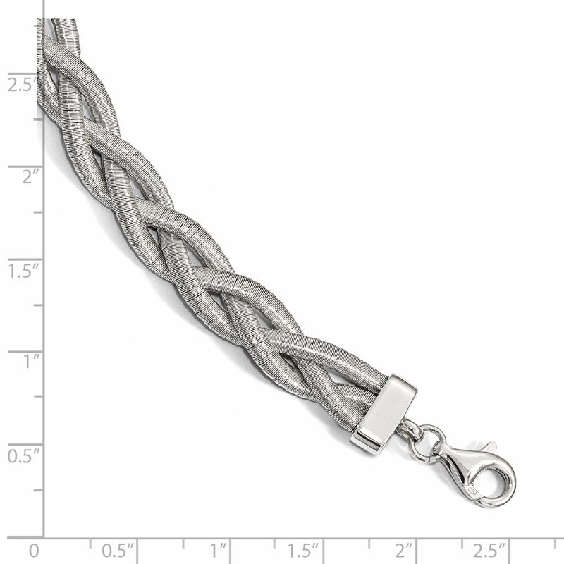 Leslie's Leslie's Sterling Silver Rhodium-plated Braided with 2in ext. Necklace