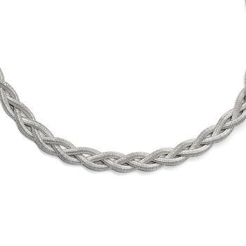 Leslie's Sterling Silver Rhodium-plated Braided with 2in ext. Necklace