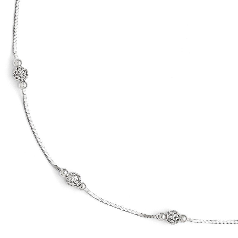 Leslie's Leslie's Sterling Silver Polished & Textured Beaded w/1in ext. Anklet
