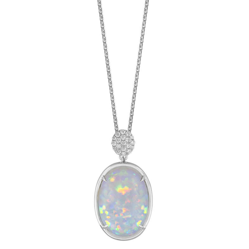 Spark Creations Opal & Diamond Necklace