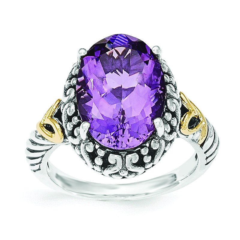Shey Couture Sterling Silver w/14ky Amethyst Oval Ring