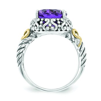 Sterling Silver w/14ky Amethyst Oval Ring