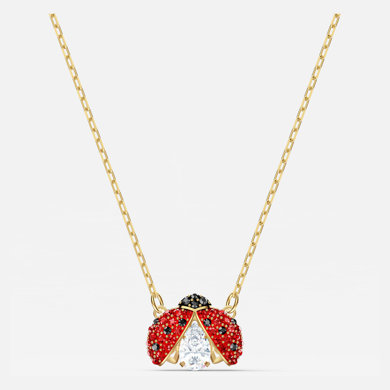 Swarovski Swarovski Sparkling Dance Ladybug Necklace, Red, Gold-tone plated
