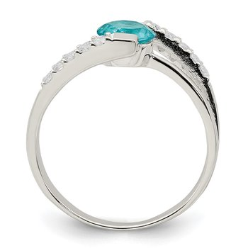 Sterling Silver Blue CZ w/CZ Accents Ring