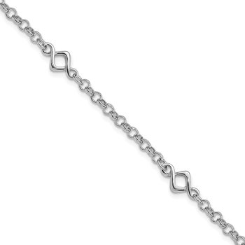 Sterling Silver Rhodium-plated Fancy Bracelet