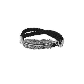Double Wrap Leather Bracelet With Raven Feather