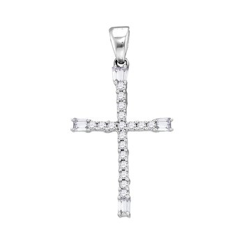 10kt White Gold Womens Round Diamond Cross Religious Pendant 1/5 Cttw
