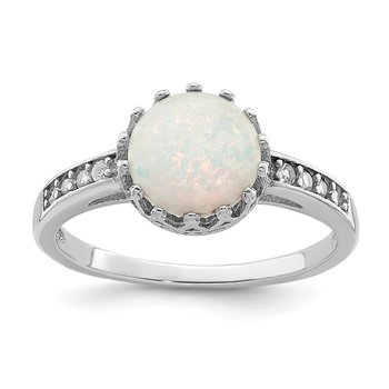 Sterling Silver Rhodium-plated Polished Created Opal Ring