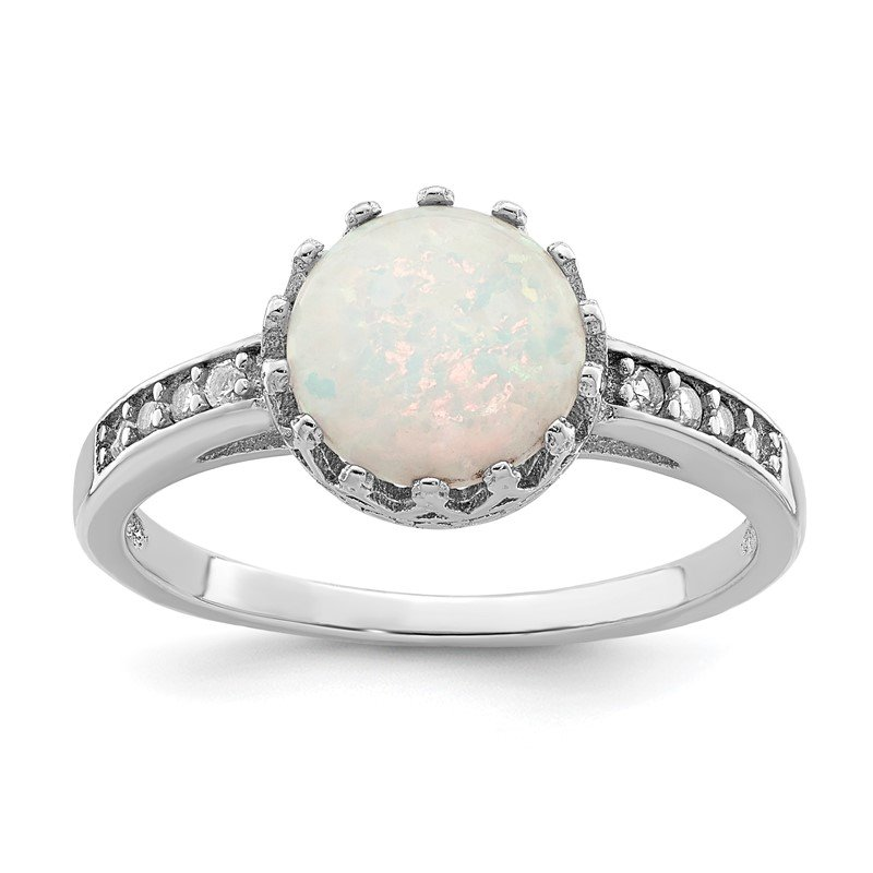 Quality Gold Sterling Silver Rhodium-plated Polished Created Opal Ring