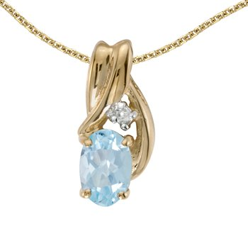 14k Yellow Gold Oval Aquamarine And Diamond Pendant