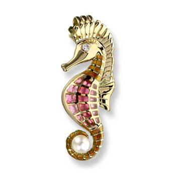Pink Seahorse Pendant.18K -Diamond and Akoya Pearl - Plique-a-Jour