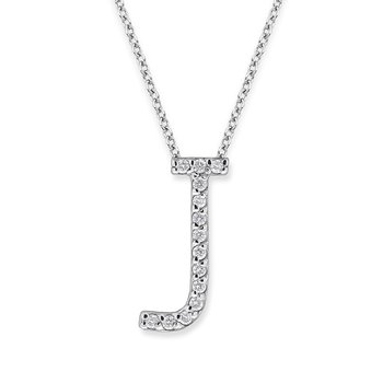 "Diamond All Star Initial ""J"" Necklace in 14K White Gold with 14 diamonds weighing .14ct tw."