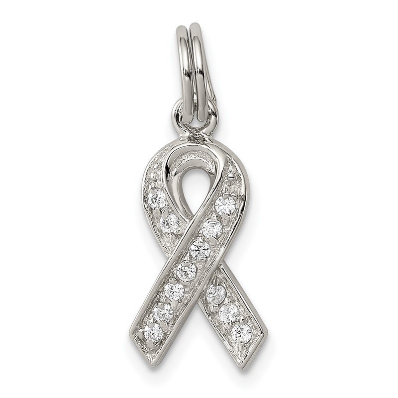 Quality Gold Sterling Silver Rhodium-plated CZ Awareness Ribbon Pendant