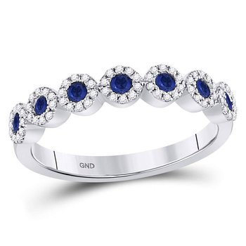 10kt White Gold Womens Round Blue Sapphire Diamond Dot Band Ring 1/2 Cttw