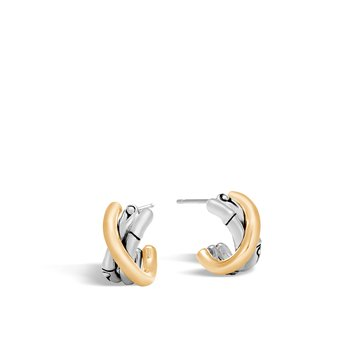 Bamboo Small J Hoop Earring in Silver and 18K Gold. Available at our Halifax store.