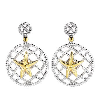 "Sterling Silver and 14K Yellow Gold Starfish Earrings 1 1/4"" long, 1"" diameter large circle"