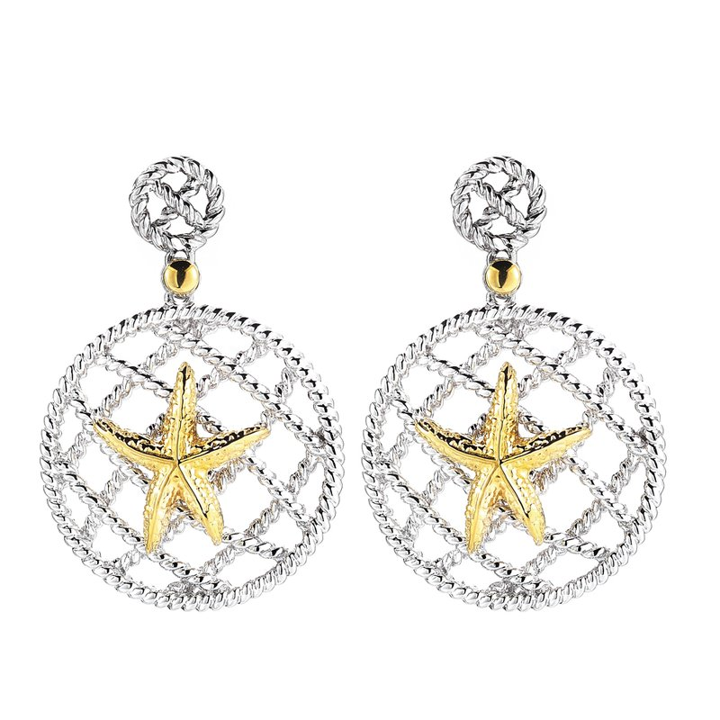 "Shula NY Sterling Silver and 14K Yellow Gold Starfish Earrings 1 1/4"" long, 1"" diameter large circle"