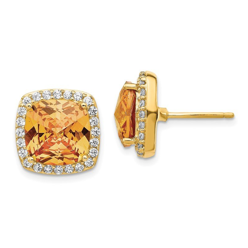 Cheryl M Cheryl M SS Gold-plated Rose-cut Champagne CZ Square Post Earrings