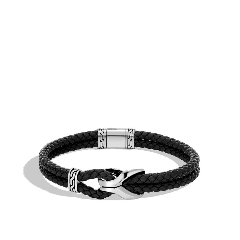 0210a5b04 John Hardy Asli Classic Chain Link Station Bracelet, Silver with Leather.  Stock # BM90105BLXM