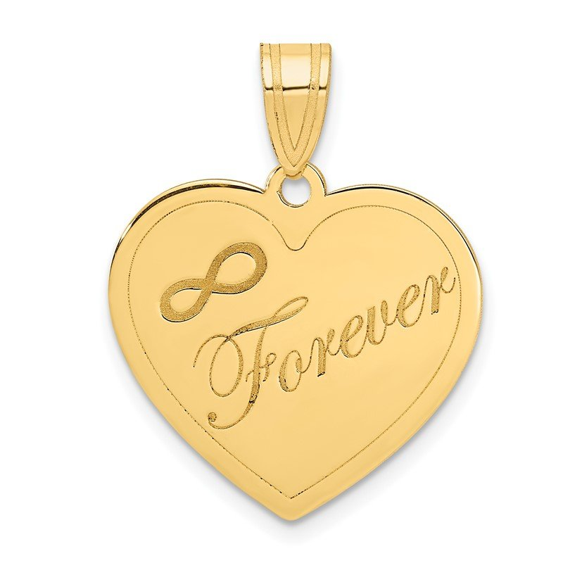 Quality Gold 14k Infinity FOREVER Laser Cut Charm Heart Pendant