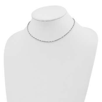 Sterling Silver Rhodium-plated 12.5in w/2in ext Choker Necklace