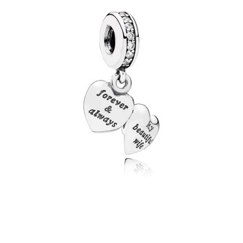 My Beautiful Wife Dangle Charm, Clear CZ