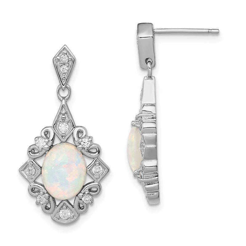 Quality Gold Sterling Silver Created Opal and CZ Earrings