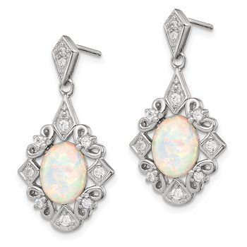Sterling Silver Created Opal and CZ Earrings