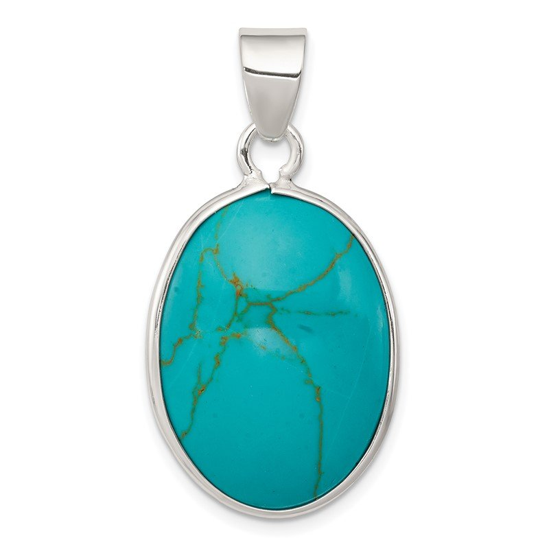 Quality Gold Sterling Silver Oval Turquoise Pendant
