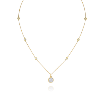 18KT GOLD PAVE CIRCLE PENDANT WITH DIAMOND STATION CHAIN