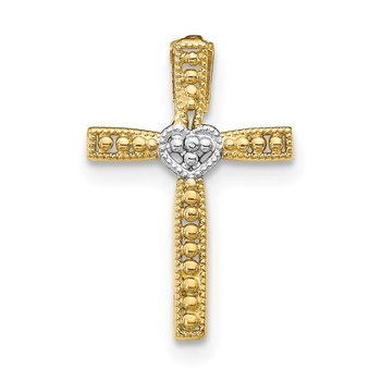 14k w/Rhodium Cross Pendant