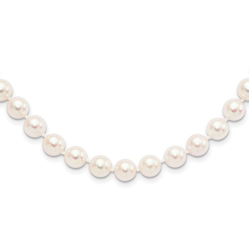 Quality Gold 14k 8-9mm Round White Saltwater Akoya Cultured Pearl Necklace
