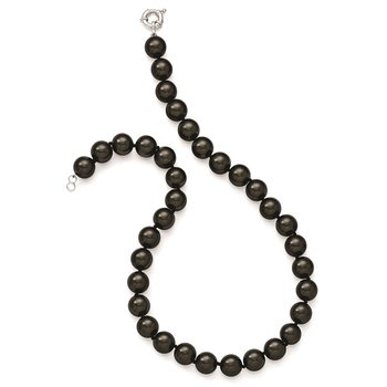 Sterling S Majestik Rh-pl 12-13mm Blk Imitat Shell Pearl Hand Knotted Neckl