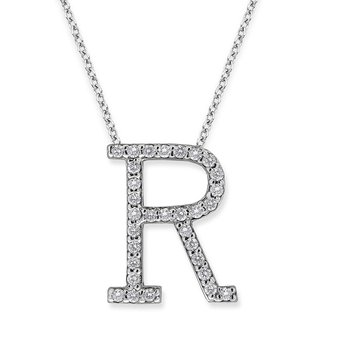 "Diamond All Star Initial ""R"" Necklace in 14K White Gold with 31 diamonds weighing .31ct tw."