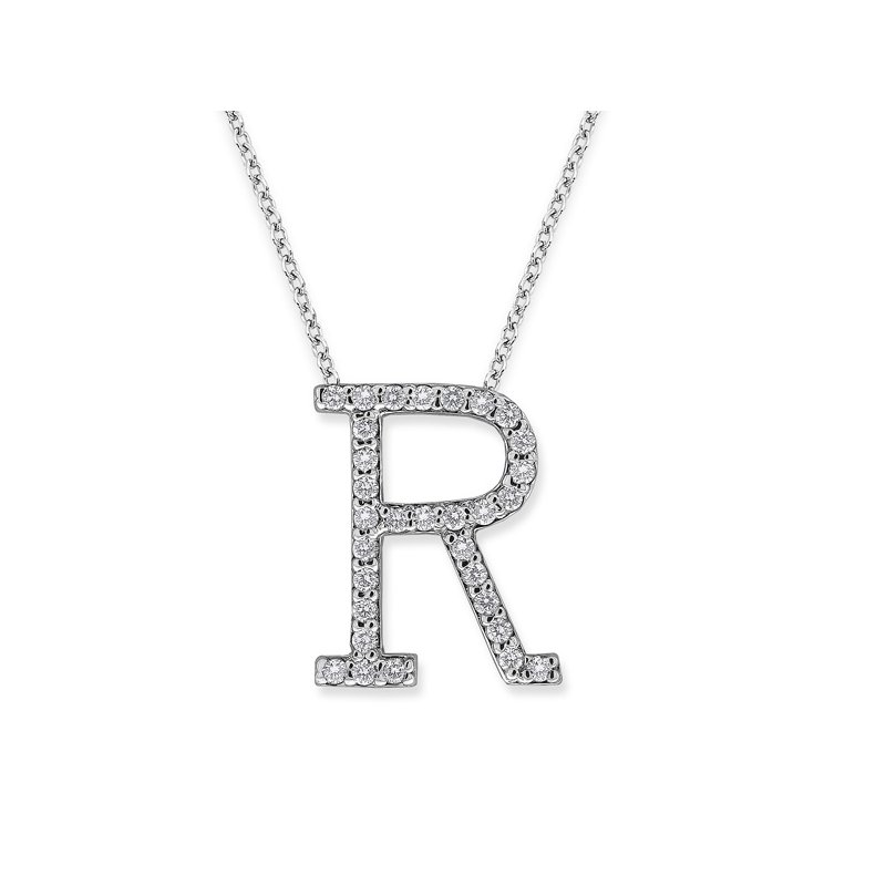 "KC Designs Diamond All Star Initial ""R"" Necklace in 14K White Gold with 31 diamonds weighing .31ct tw."