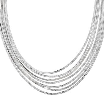 Leslie's Sterling Silver Herringbone 7 Strand Necklace